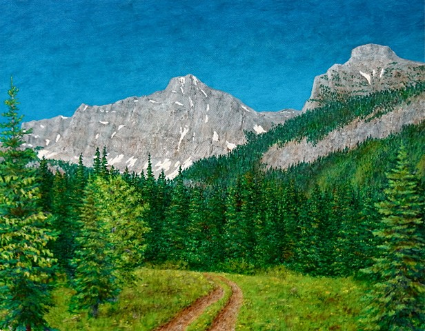 Painting of an old logging road and Rocky Mountains in Hartley Lake Pass near Fernie, B.C.