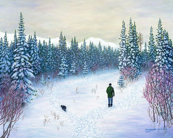 A painting of a man and a dog walking on snowy, winter trails beside Lizard Creek near Fernie B.C.