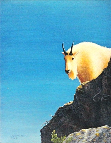 A painting of a mountain goat in the Canadian Rocky Mountains.