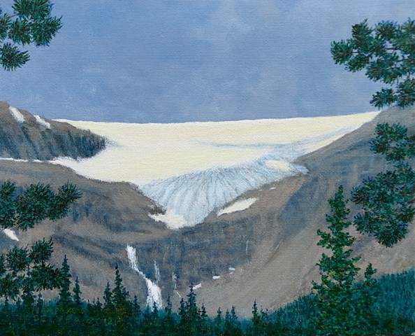 Banff National Park, Rocky Mountains, Bow Lake, Landscape Paintings, Bow Glacier, water falls, Bow Lake