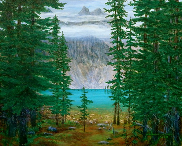 Banff National Park, Landscape Paintings, Lake Agnes, Lake Louise, Rocky Mountains, Canada