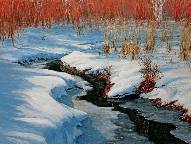 A painting of McDougall Creek which flows across Fernie Golf Course and through Maiden Lake to enter the Elk River, in Fernie, B.C.