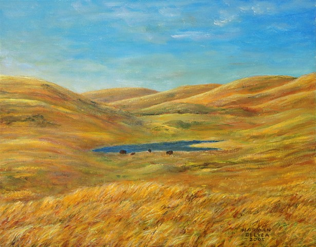 A painting of native grasslands in a protected area where bison, or buffalos, live in Waterton Lakes National Park in Alberta, Canada