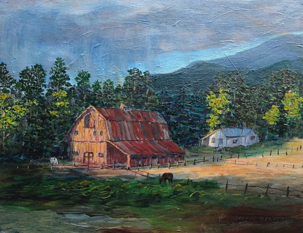 A painting of an old barn in Fernie, B.C. which, at the beginning of the 20th C., housed work horses from the underground coal mines of nearby Coal Creek