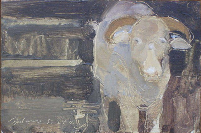 Oil painting of a ram from a local farm