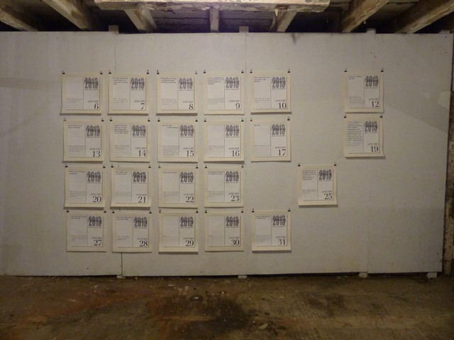 This Disposable Day Desk Calendar (January and February), Installation view at Luther Barn at the Wassaic Project Residency in Wassaic, NY, November 2014