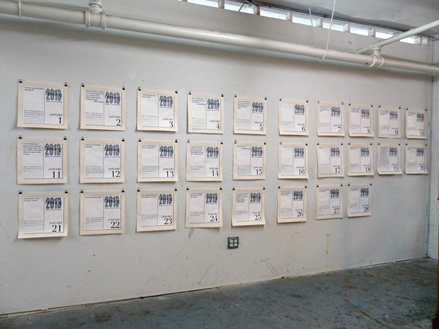 This Disposable Day Desk Calendar (January) studio installation view at Fountainhead Studios, Miami, FL