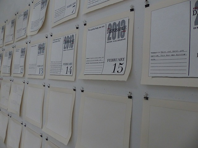 This Disposable Day Desk Calendar (February), Installation view at VCCA Residency, July 2014