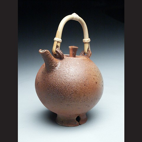 Teapot, cane handle, salt fired stoneware, wheel thrown, pottery, ceramics, Paul Ide, functional, cone 10