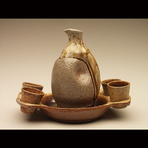 sake, salt fired stoneware, wheel thrown, pottery, ceramics, Paul Ide, functional, cone 10