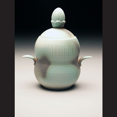 Lidded jar, salt fired porcelain, wheel thrown, pottery, ceramics, Paul Ide, functional, cone 10