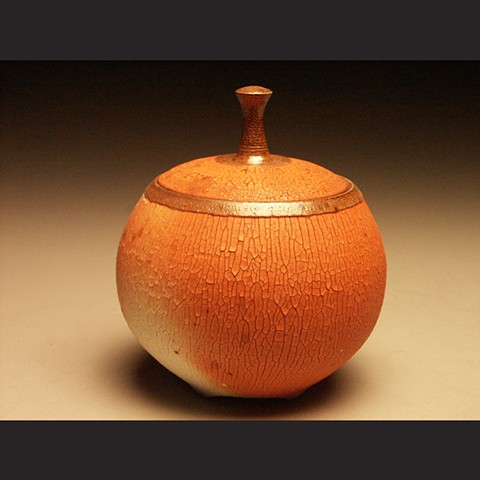 Lidded jar, crackle slip, salt fired stoneware, wheel thrown, pottery, ceramics, Paul Ide, functional, cone 10