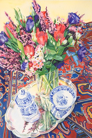 blue & white china with oriental rug