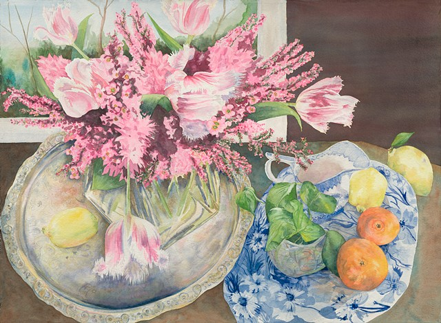 Blue & white china and spring arrangement with fruit