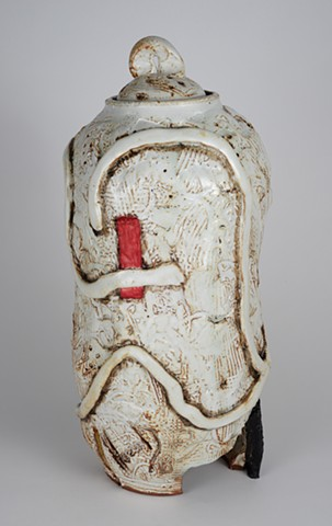 Tall White Covered Jar (view 4)