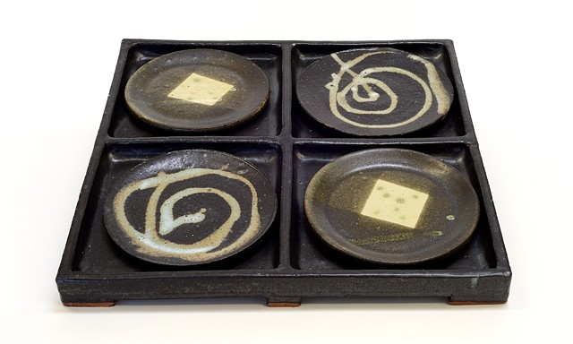 Black Tray w/ Various Plates #2