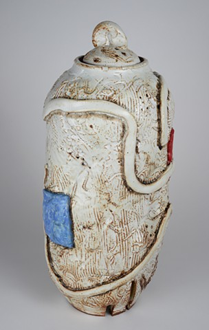 Tall White Covered Jar (view 1)