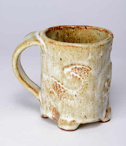 White Textured Cup w/ Handle