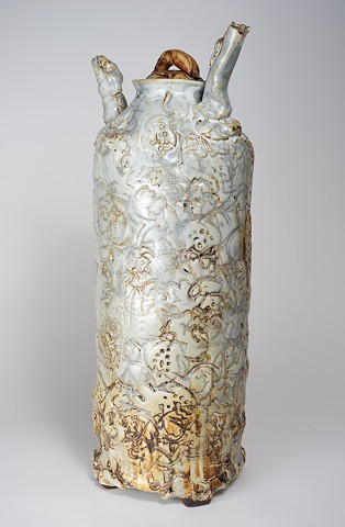 Tall Textured Vase w/ Cover (view 2)