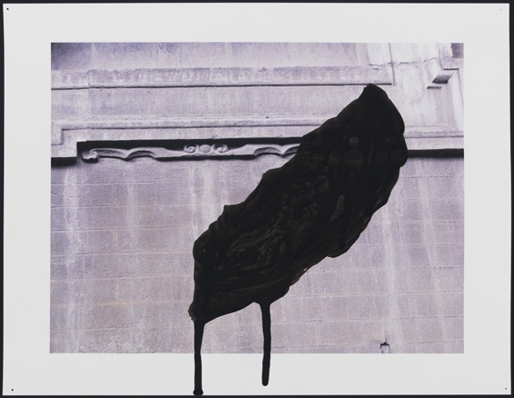 Untitled (museum wall with black wing shape)