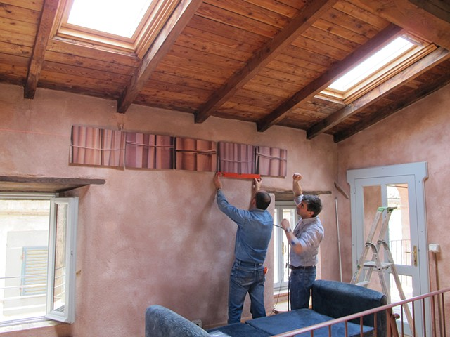 "Installation of ""Pentaptych Frieze"" with Maurizio and Antonio from Lignum"
