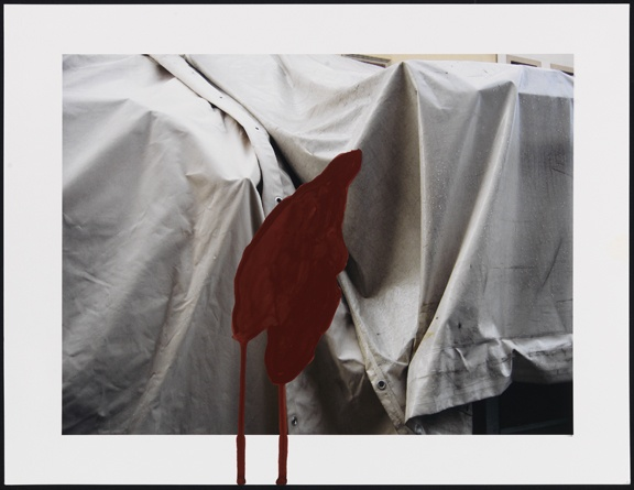 Untitled (market tarps with dark red shape)