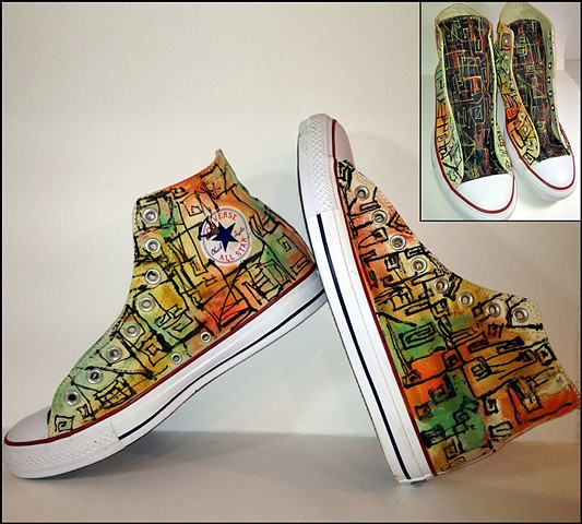 Abstract custom painted Converse sneakers with a sixties edge and a current vibe
