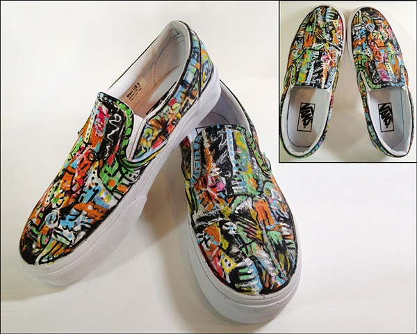 Custom painted Vans (but they could be Converse!) by Eileen Murray Art, abstract expressionist bright colors and black