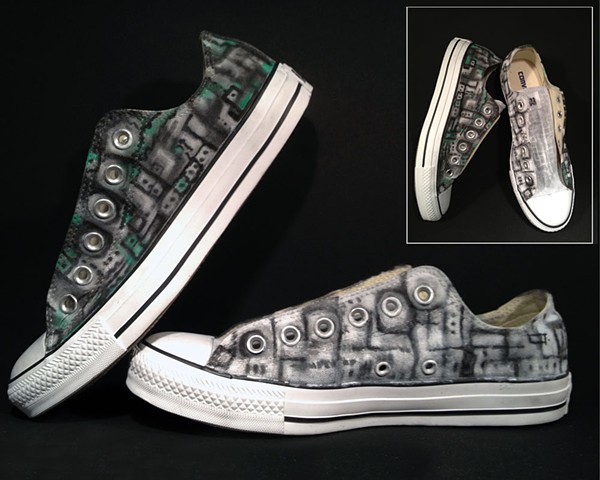 Custom painted black and white bone structure Converse low-tops by Eileen Murray Art size 7
