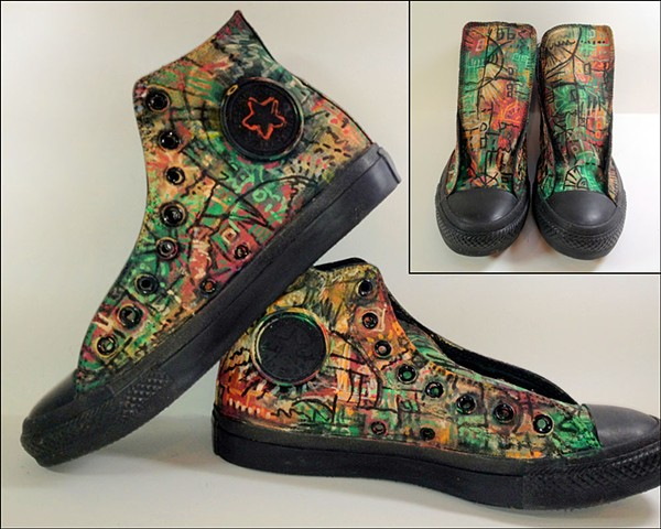 """Inspired by """"Annabelle Lost,"""" painted shoes by Eileen Murray, custom created"""