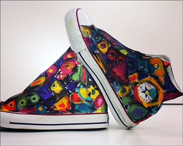 Painted custom shoes in bright colors - art by Eileen Murray