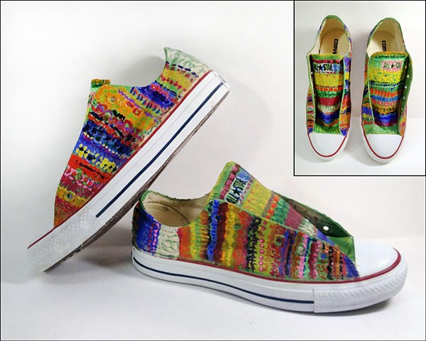 Custom painted Converse low-tops (but they could be Vans!) by Eileen Murray Art, brightly colored stripes of tulip fields - perfect for spring