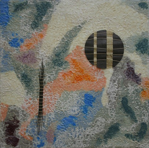 abstract, encaustic, paper, Chinese river reed