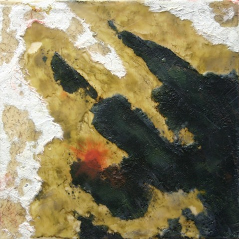 abstract, encaustic, pastel, tar, paper, pastel