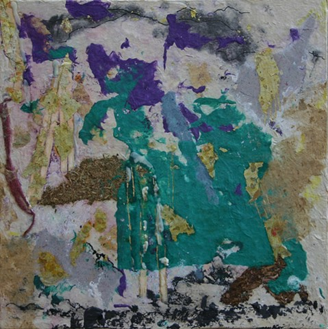 Waterfalls painted on the artists handmade paper with paper and encaustic