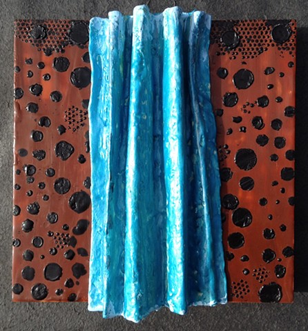 Three dimensional waterfall in blues and browns