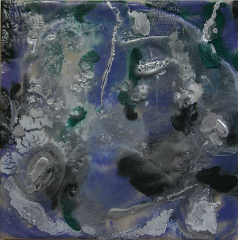 Encaustic waterfall in veridian and mauve