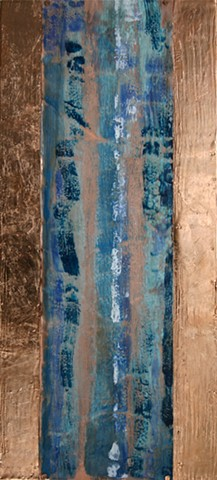Encaustic waterfall on copper applied to birch cradle surrounded copper leaf.