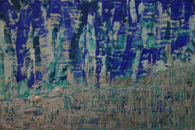 Encaustic waterfall in dark blue encaustic with celedon highlights