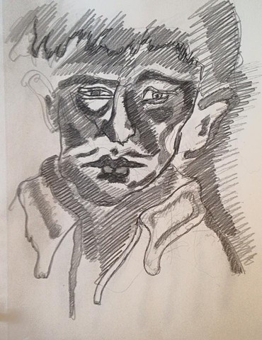 face pencil drawing a cortright devereux artist pennsylvania german expressionism deutscher expressionismus