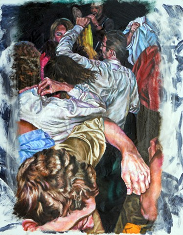 James Lassen, painting, people, phones, figures,