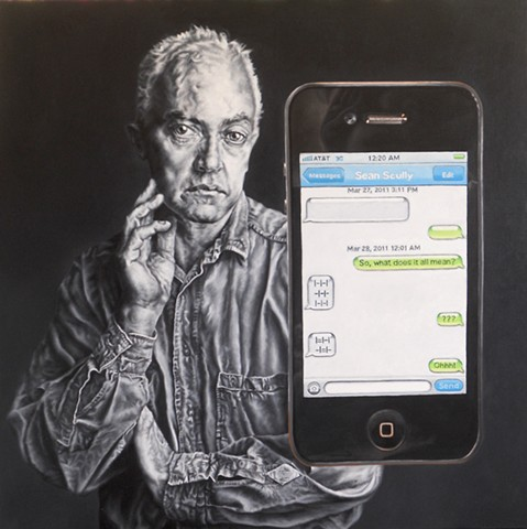 James Lassen painting feature Sean Scully and an iPhone text message