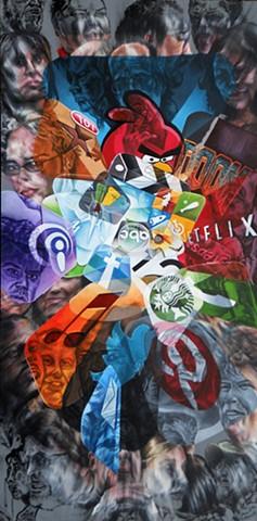 James Lassen, cellphones, iPhone, text, painting