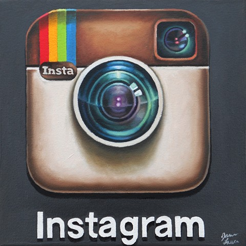 painting of the iPhone's Instagram icon by James Lassen