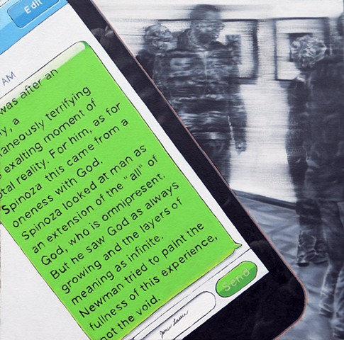 painting of an iphone text message in front of people looking at art, by James Lassen