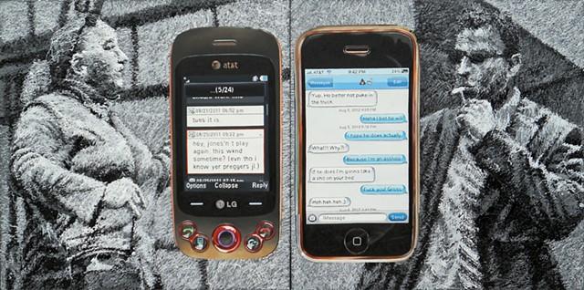 james lassen painting text messages people figures cellphones drip house paint