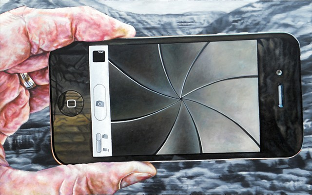 painting of an iPhone in the middle of taking a picture or showing the camera shutter animation, by James Lassen