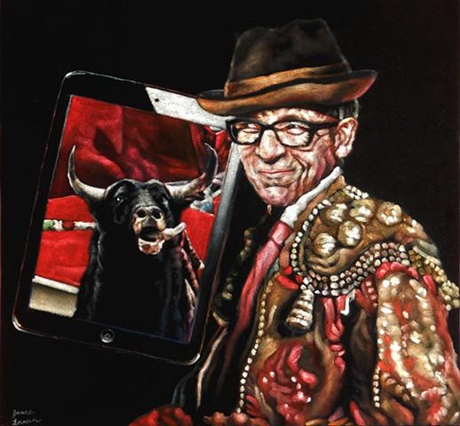 James Lassen, velvet elvis, velvet painting, bull on ipad
