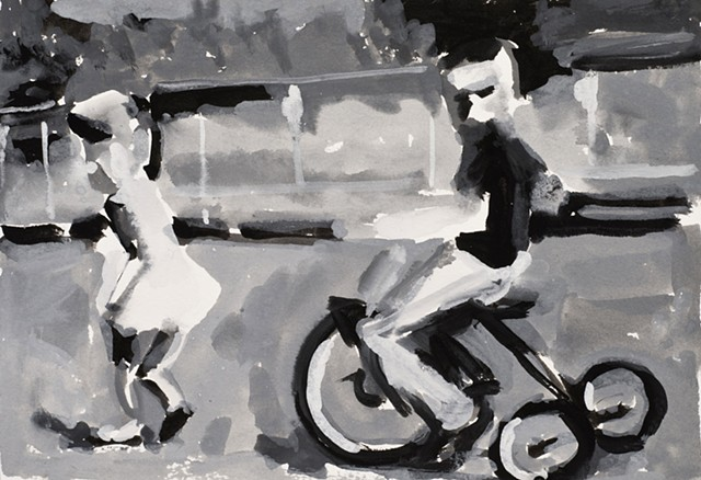 drawing of a girl pulling a boy on a trike