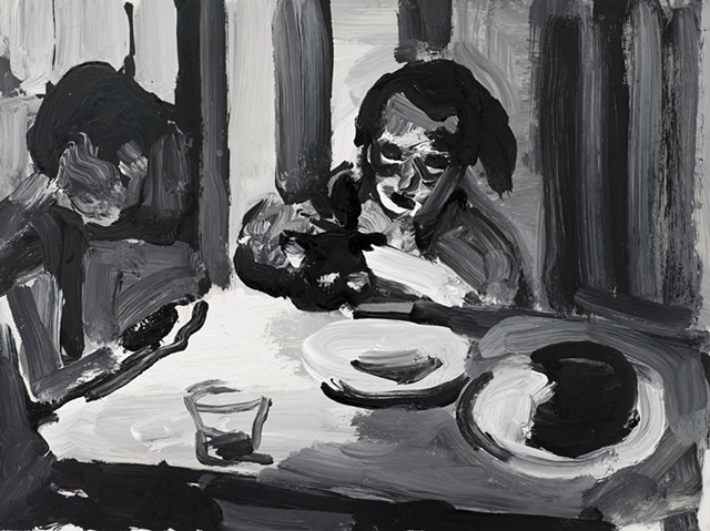 black and white painting of two figures at a table